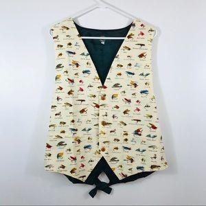 ORVIS FISHING LURE Dress Button Front Vest Suit
